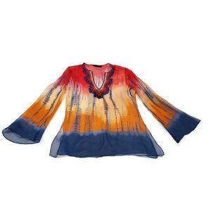 BCBG Silk Tie Dye Beaded Top Flowy Boho small